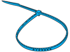 Serial numbered nylon cable ties, blue