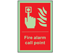 Fire alarm call point symbol and text photoluminescent safety sign