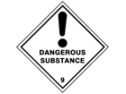 Dangerous substance 9 hazard warning diamond sign