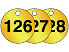 Brass valve tags, numbered 126-150
