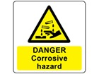 Danger corrosive hazard symbol and text safety label.