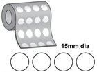 Thermal transfer labels, self adhesive paper, 15mm diameter.