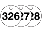 Plastic valve tags, numbered 326-350