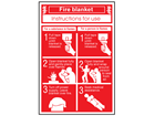 Fire blanket instructions for use sign