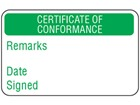 Certificate of conformance quality assurance label