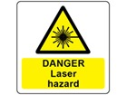 Danger laser hazard symbol and text safety label.