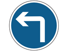 Left turn ahead sign