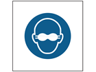 Opaque eye protection must be worn symbol safety sign.