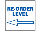 Re-order level, arrow left, sign.