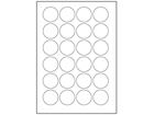 Paper laser and inkjet labels, 40mm diameter.