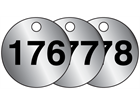 Aluminium valve tags, numbered 176-200