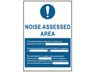 Noise assessed area symbol and text safety sign.