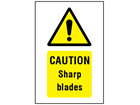 Caution Sharp blades symbol and text safety sign.