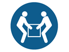 Two person handling symbol label
