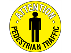 Attention pedestrian traffic floor marker