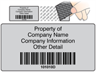 Scanmark tamper evident barcode label (black text), 38mm x 76mm