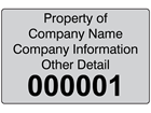 Assetmark foil serial number label (black text), 32mm x 50mm