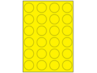 Yellow polyester laser labels, 40mm diameter