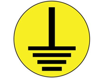 Earth symbol label (black on yellow)