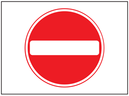 No entry symbol only temporary road sign.
