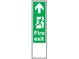 Fire exit, running man right, arrow ahead sign.