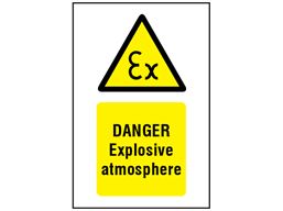 Danger Explosive atmosphere symbol and text safety sign.