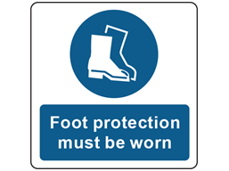 Foot protection must be worn symbol and text safety label.