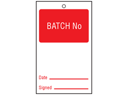 Batch number tag