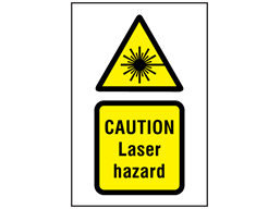 Caution Laser hazard symbol and text safety sign.