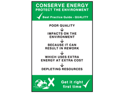 Conserve energy quality sign.