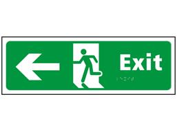 Exit, running man, arrow left sign.