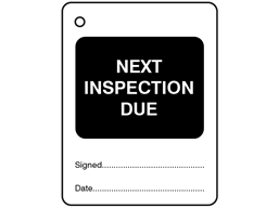 Next inspection due tag.