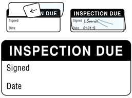 Inspection due write and seal labels.
