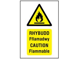 Rhybudd Fflamadwy, Caution Flammable. Welsh English sign.