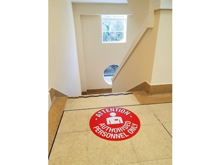 Attention authorised personnel only floor marker