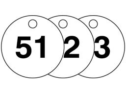 Plastic valve tags, numbered 51-75