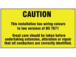 Distribution board BS 7671 label