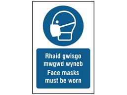 Rhaid gwisgo mwgwd wyneb, Face masks must be worn. Welsh English sign.