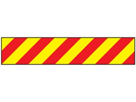 Laminated warning tape, red and yellow chevron.