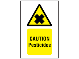 Caution pesticides symbol and text safety sign.