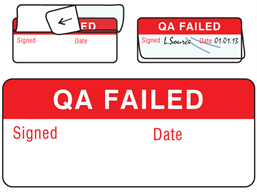 QA failed write and seal labels.