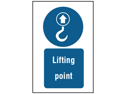 Lifting point symbol and text safety sign.