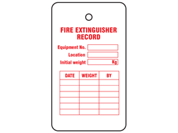 Fire Extinguisher Record Tag