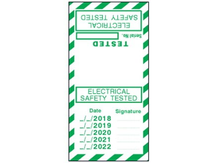 Electrical safety tested, tested date cable wrap label.