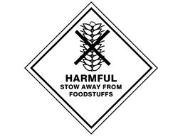 Harmful stow away from foodstuffs hazard warning diamond sign