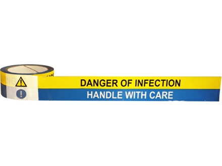 Danger of infection, Handle with care symbol and text safety tape.