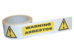 Warning asbestos safety tape.