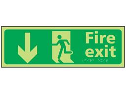 Fire exit arrow down photoluminescent sign.