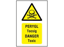Pergyl Tocsig, Danger Toxic. Welsh English sign.