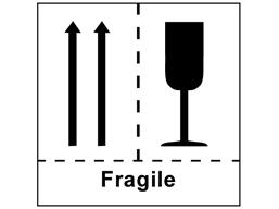 Fragile combination heavy duty packaging label